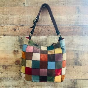 Lucky Brand Hobo Color Patch Suede Leather Bag